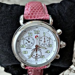 Michele Pink LeatherStainless Chronograph Csx 2000
